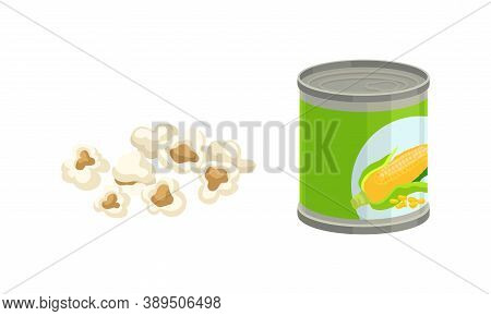 Canned Maize Or Corn As Cereal Grain With Yellow Kernels Or Seeds Vector Set
