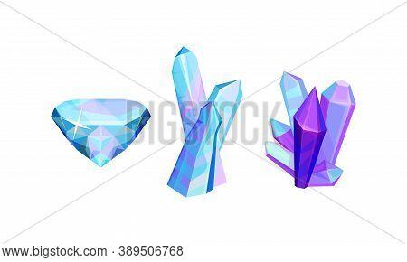 Bright Crystals Or Quartz And Faceted Stones Vector Set
