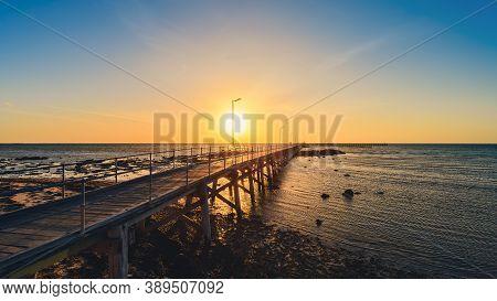 Iconic Moonta Bay Jetty At Sunset, Yorke Peninsula,  South Australia