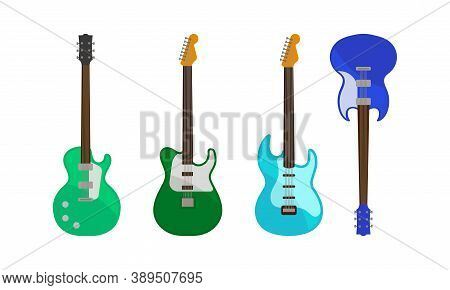 Electric Guitar As Fretted Musical Instrument With Strings Vector Set