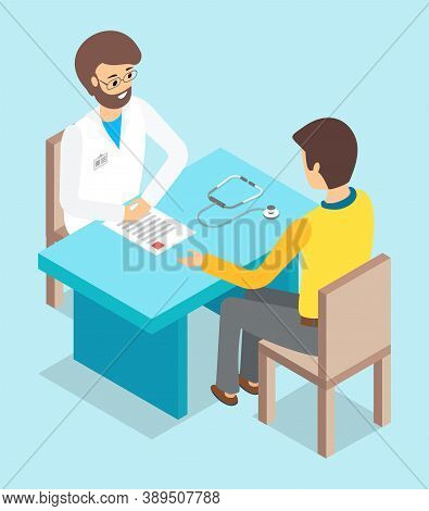 Isolated Isometric Cartoon Characters. Doctor And Patient Sitting At Table. Doctor S Reception. Man