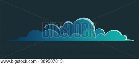 Night Cloud Vector Panorama Symbol, Dark Blue Cloud For Night View Or Sky, Landscape Interface, Natu