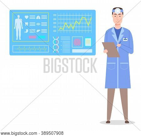 Otolaryngologist With Clipboard. Medical Scanning Of Body. Board With Information, Health Condition,