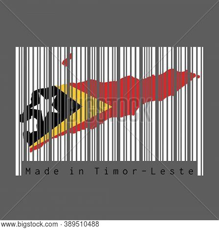 Barcode Set The Shape To Timor Leste Map Outline And The Color Of Timor Leste Flag On White Barcode