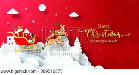 Merry Christmas And Happy New Year, Christmas Banner Postcard Of Santa Claus On A Sleigh In The Vill