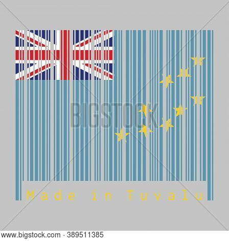Barcode Set The Color Of Tuvalu Flag, A Light Blue Ensign With The Map Of The Island Of Nine Yellow