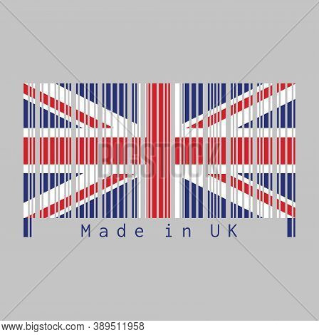 Barcode Set The Color Of Uk Flag, Union Jack And Text: Made In Uk. Concept Of Sale Or Business.