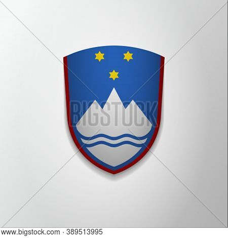 Emblem Of Slovenia. 26th Of December. Vector Illustration. Blue Shield With Stars And Mountain. Blaz