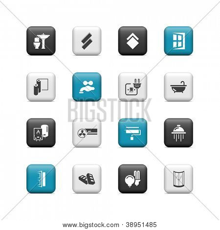 Home renovation icons. Buttons