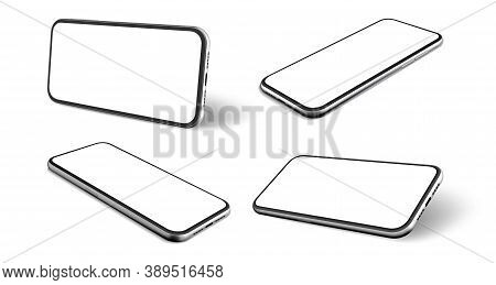 Realistic Mobile Phones Set. Collection Of Realism Style Drawn Cellphone Frame With Blank Display Te