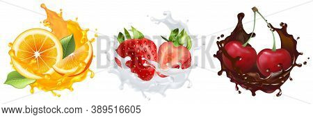 Realistic Berries And Fruits Set. Collection Of Realism Style Drawn Cutting Orange Strawberry And Ch
