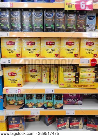 Warsaw, Poland - August 14, 2020: Tetley, Lipton And Tet Black Tea Brands At A Grocery Store In Pola