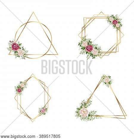 Geometrical Polyhedron Collection With Flowers.  Wedding Invitation Deco Style Design. Floral Botani