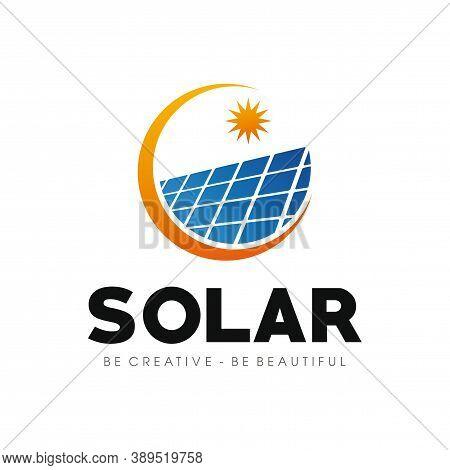 Solar Energy Logo, Solar Panels Logo Vector