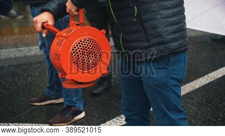 Warsaw, Poland 13.10.2020 - Protest Of The Farmers Hand Siren Cranked Alarm. High Quality Photo