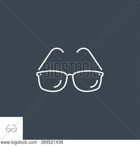 Sunglasses Icon. Sunglasses Related Vector Line Icon. Isolated On Black Background. Editable Stroke.