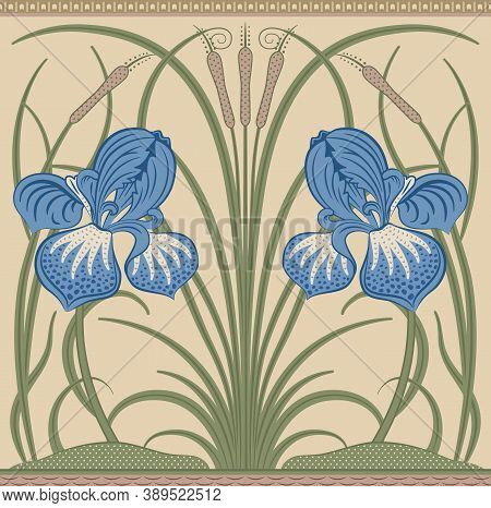 Blue Big Irises And Green Reeds Decorative Border Pattern On Light Background. Middle Ages Style Wil