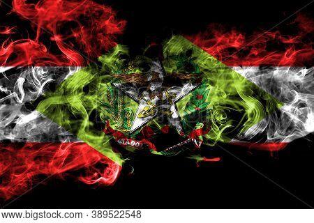 Brazil, Brazilian, Santa Catarina Smoke Flag Isolated On Black Background