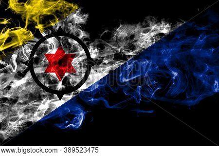Netherlands, Dutch, Holland, Bonaire Smoke Flag Isolated On Black Background
