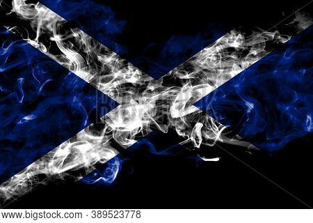 Scotland, Scottish, Scots Smoke Flag Isolated On Black Background