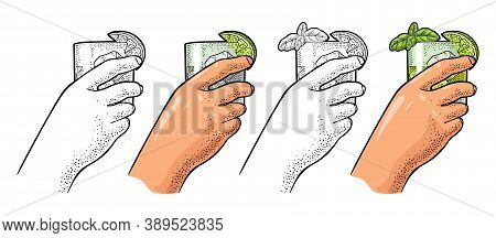 Female Hand Holding Glass Gin. Vintage Vector Engraving