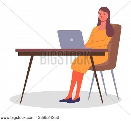 Stylish Woman Working With Laptop. Businessperson Sitting At Table And Typing At Computer Keyboard.