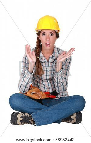 A clueless female construction worker.