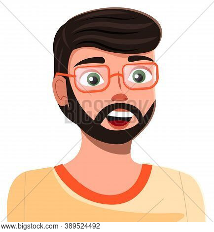 Vector Cartoon Character. Avatar Of Young Bearded Man Wearing Eyeglasses In Yellow T-shirt. Isolated