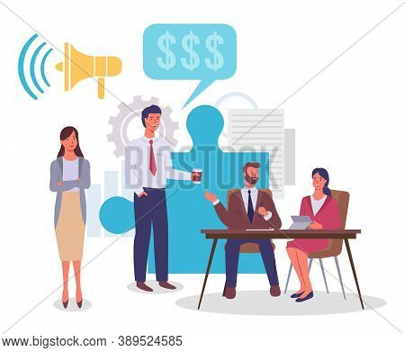 Businesspeople Talking. Man Offer Effective Marketing Strategies, Idea For Money, Dialogue Bubble, L