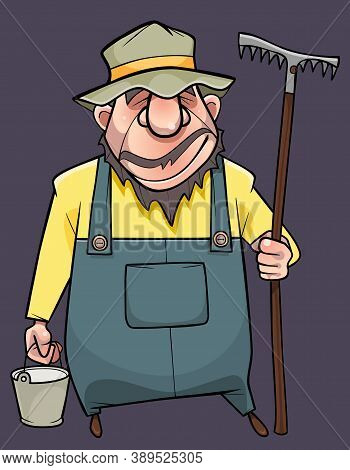 Funny Cartoon Male Gardener In Overalls And Hat Stands With Bucket And Rake