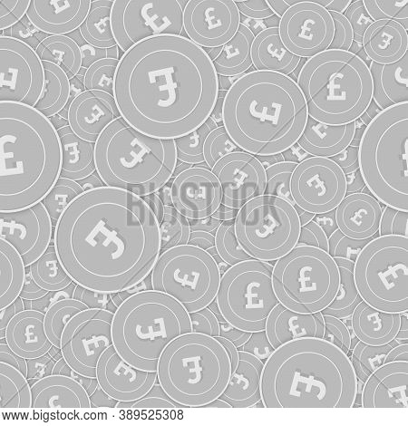 British Pound Silver Coins Seamless Pattern. Superb Scattered Black And White Gbp Coins. Success Con