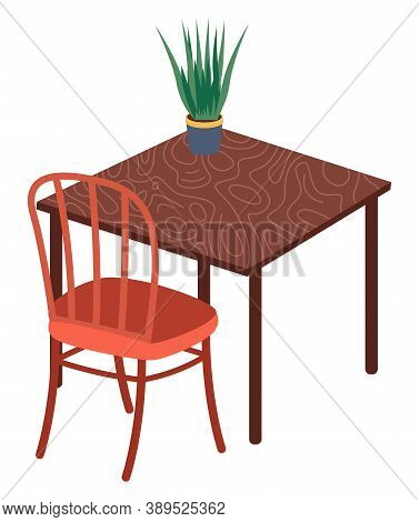 Isolated Chair, Table With Green Plant In Pot At White Background. Modern Stylish Furniture For Home