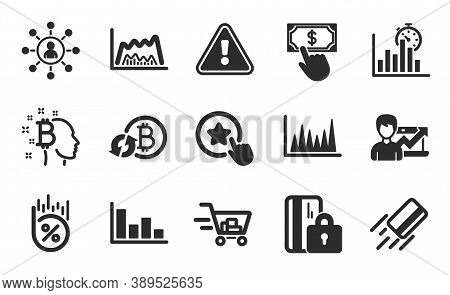 Credit Card, Trade Chart And Shopping Cart Icons Simple Set. Report Timer, Payment Click And Network