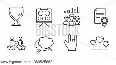 Teamwork Results, Security Agency And Certificate Line Icons Set. Horns Hand, Love Heart And Wine Gl