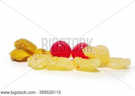 3 Flavors Dehydrated Mango, 3 Flavors Dehydrated Pineapple, 3 Flavors Of Cherries. Isolated On White