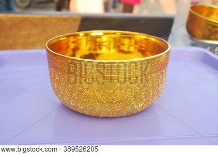 Gold Bowl, An Important Ceremony, Wedding, Ordination Ceremony.(with Clipping Path).