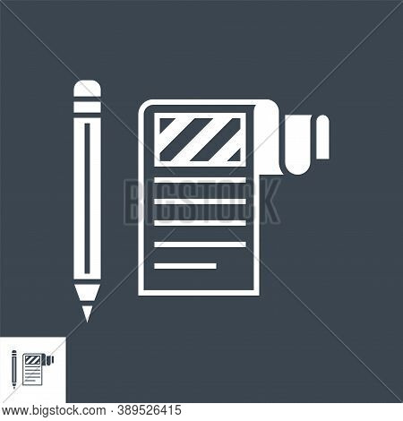 Article Submission Related Vector Glyph Icon. Isolated On Black Background. Vector Illustration.