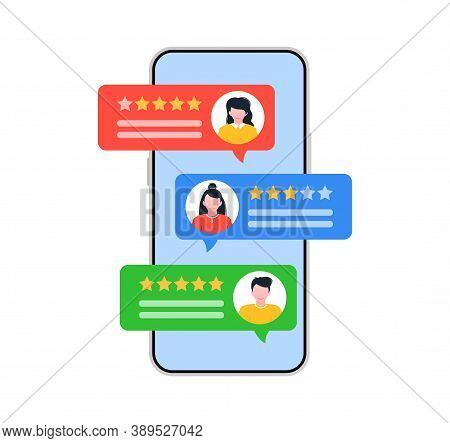 Testimonial Concept With Speech Bubbles. Rating Review.