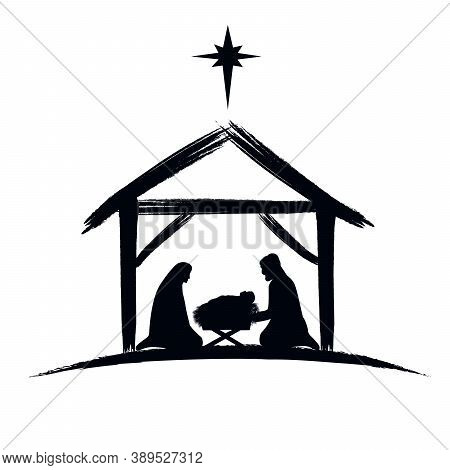 Nativity Scene Silhouette Banner Design With Manger Cradle For Baby Jesus, Holiday Holly Night. Vect