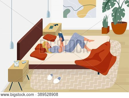 Woman Reading Book Vector Background. Relaxed Girl Comfortable Lying Down On The Bed With Blanket An