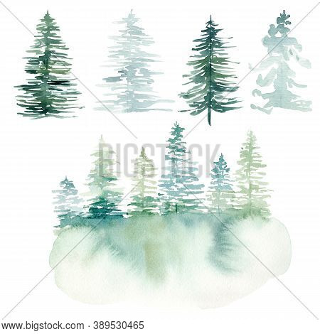 Watercolor Hand Painted Winter Landscape With Pine Trees In The Mountains. Christmas Pine Tree Clipa