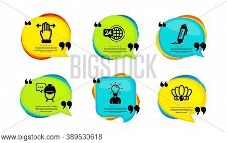 Signature, Multitasking Gesture And 24h Service Icons Simple Set. Speech Bubble With Quotes. Foreman