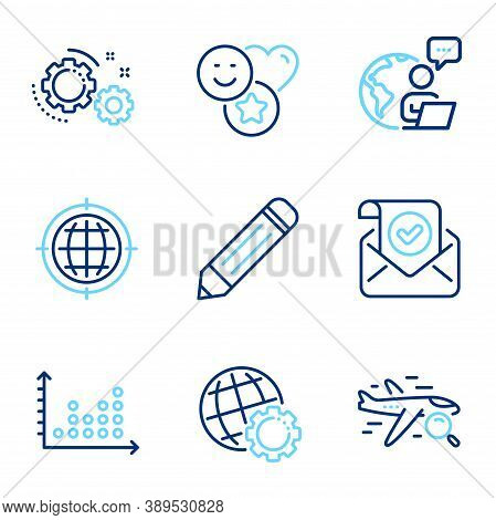 Technology Icons Set. Included Icon As Confirmed Mail, Pencil, Dot Plot Signs. Seo Internet, Gears,