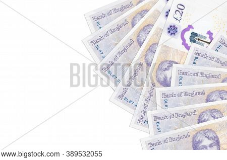 20 British Pounds Bills Lies Isolated On White Background With Copy Space. Rich Life Conceptual Back