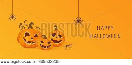 Three Halloween Pumpkins And Black Spiders On Orange Background. Jack O' Lantern With Scary Smiles.