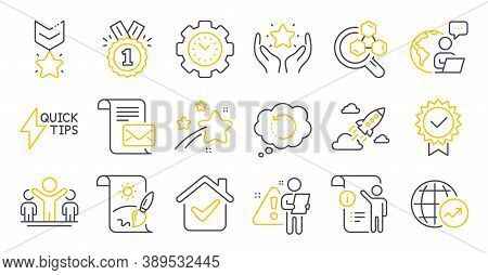 Set Of Education Icons, Such As World Statistics, Time Management, Startup Rocket Symbols. Chemistry