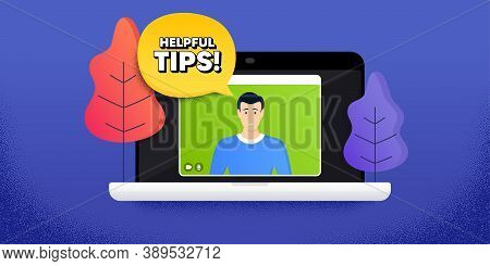 Helpful Tips Symbol. Video Call Conference. Remote Work Banner. Education Faq Sign. Help Assistance.