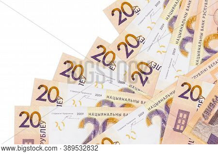 20 Belorussian Rubles Bills Lies In Different Order Isolated On White. Local Banking Or Money Making