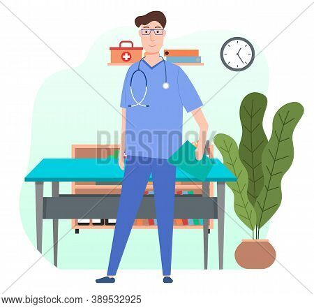 Male Therapist Or Vet With Stethoscope In Blue Uniform Standing With Clipboard Near Sectional Table,