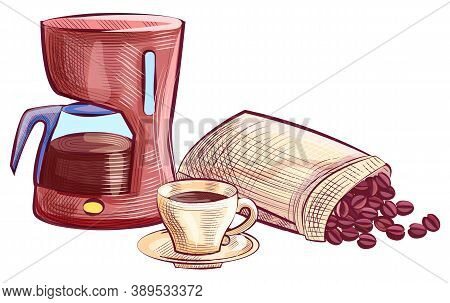 Sketch Of Electric Kettle, With Saucer And Coffee Drink, Beans In Bag. Drawing Coffee-house Objects,